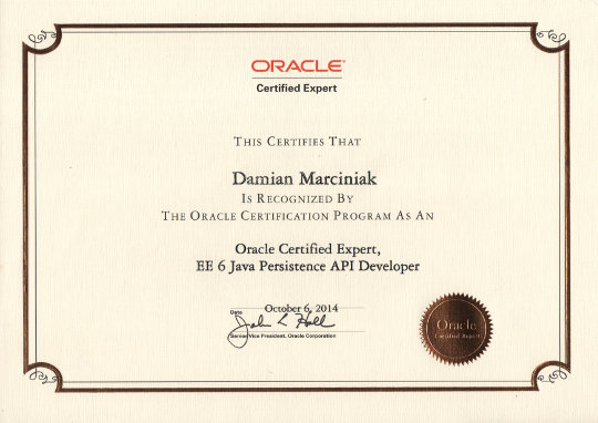Oracle Certified Expert EE 6 Java Persistence API Developer