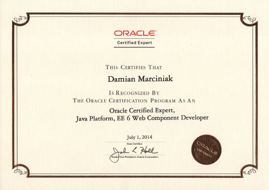 Oracle Certified Expert, Java Platform, EE 6 Web Component Developer